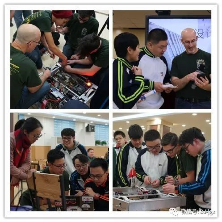 Chinese and American Students Cooperating to Assemble and Debug the Robot Successfully